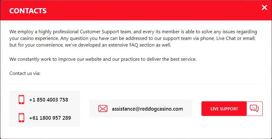 Red Dog Casino Support